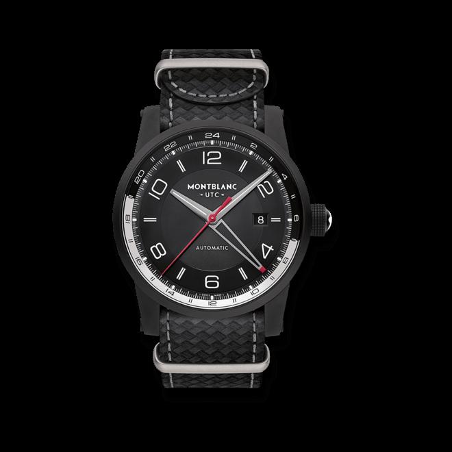Herrenuhr Montblanc Timewalker Urban Speed UTC E-Strap mit schwarzem Zifferblatt und Kamelleder-Armband