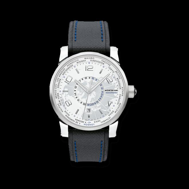Herrenuhr Montblanc Timewalker World-Time Hemispheres mit silberfarbenem Zifferblatt und Kalbsleder-Armband