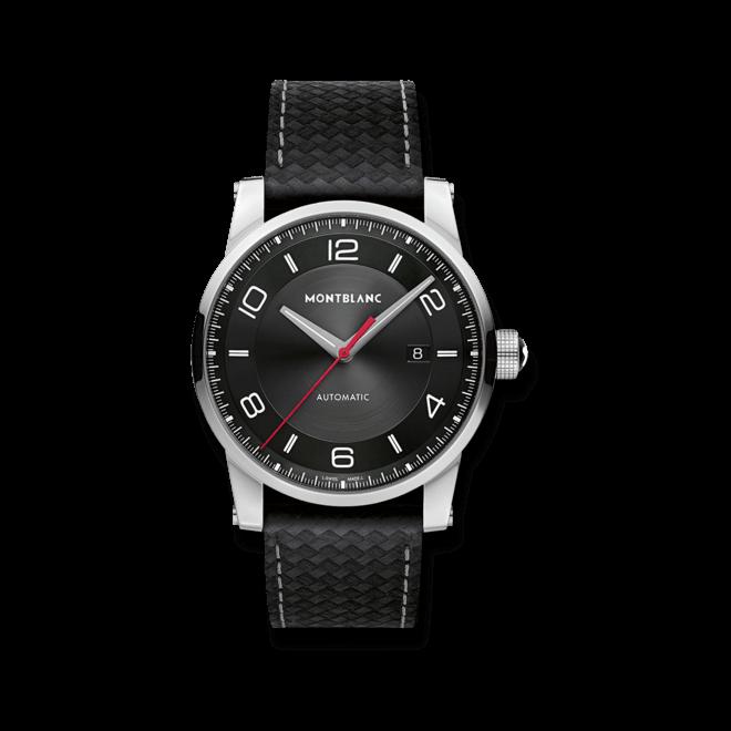 Herrenuhr Montblanc Urban Speed Date mit schwarzem Zifferblatt und Armband aus Kalbsleder mit Textil
