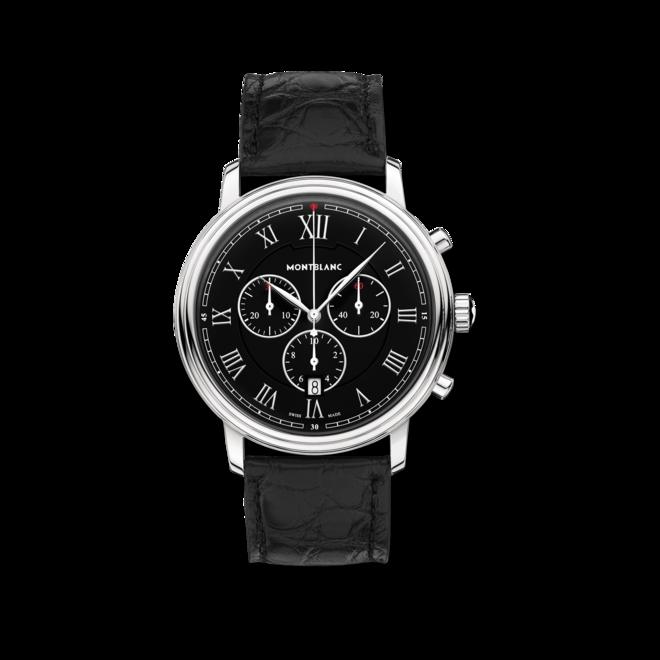 Herrenuhr Montblanc Tradition Chronograph mit schwarzem Zifferblatt und Alligatorenleder-Armband bei Brogle