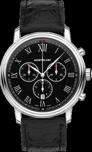 Herrenuhr Montblanc Tradition Chronograph mit schwarzem Zifferblatt und Alligatorenleder-Armband