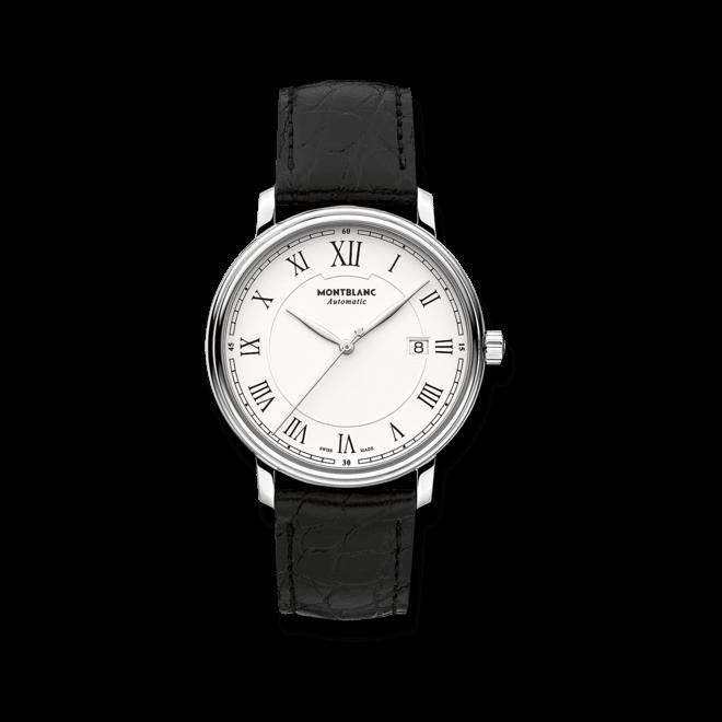 Herrenuhr Montblanc Tradition Date Automatic mit weißem Zifferblatt und Alligatorenleder-Armband bei Brogle