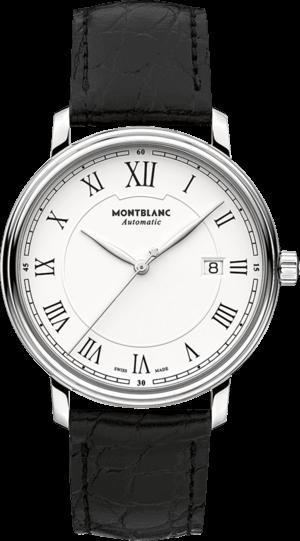 Herrenuhr Montblanc Tradition Date Automatic mit weißem Zifferblatt und Alligatorenleder-Armband