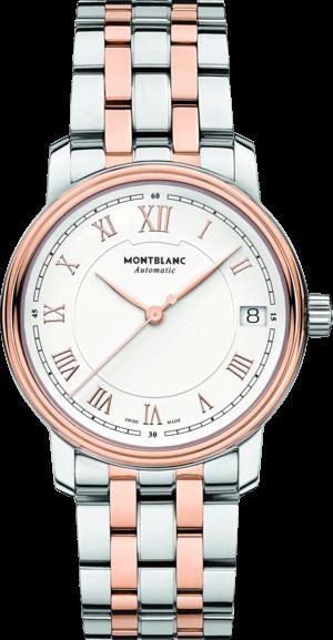 Herrenuhr Montblanc Tradition Date Automatic mit weißem Zifferblatt und Edelstahlarmband