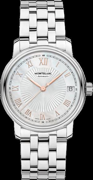 Damenuhr Montblanc Tradition Date Automatic 32mm mit perlmuttfarbenem Zifferblatt und Edelstahlarmband