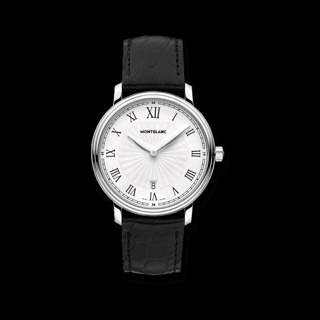 Herrenuhr Montblanc Tradition Date Quartz mit weißem Zifferblatt und Alligatorenleder-Armband