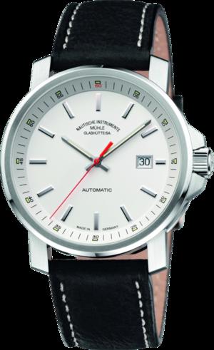 Herrenuhr Mühle Glashütte 29er Big mit weißem Zifferblatt und Kalbsleder-Armband