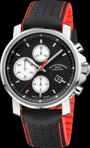 Herrenuhr Mühle Glashütte 29er Chronograph mit schwarzem Zifferblatt und Kautschukarmband