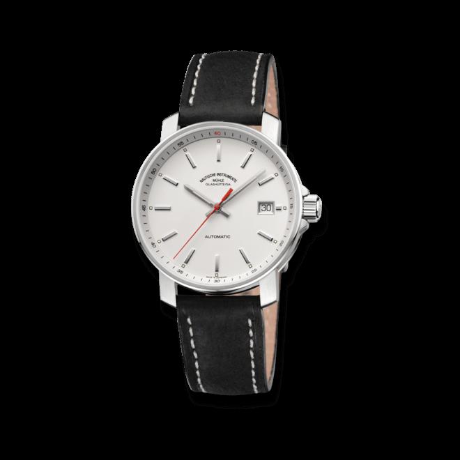 Armbanduhr Mühle Glashütte 29er mit weißem Zifferblatt und Kalbsleder-Armband