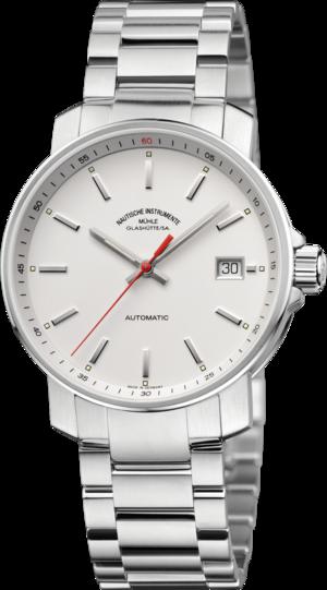 Armbanduhr Mühle Glashütte 29er mit weißem Zifferblatt und Edelstahlarmband