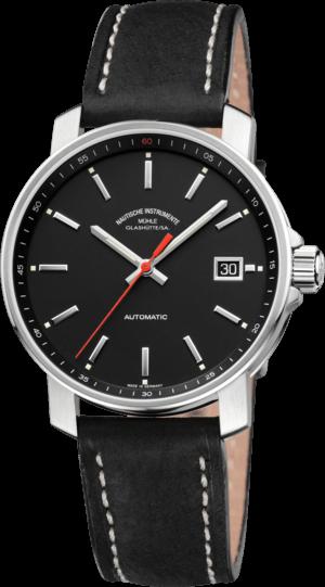 Armbanduhr Mühle Glashütte 29er mit schwarzem Zifferblatt und Kalbsleder-Armband