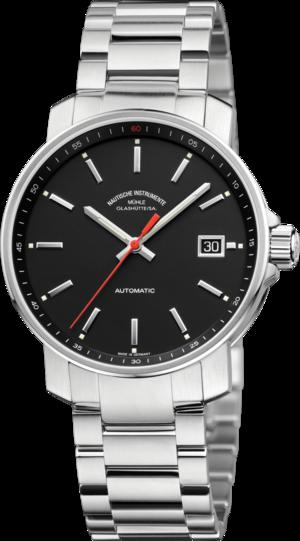 Armbanduhr Mühle Glashütte 29er mit schwarzem Zifferblatt und Edelstahlarmband