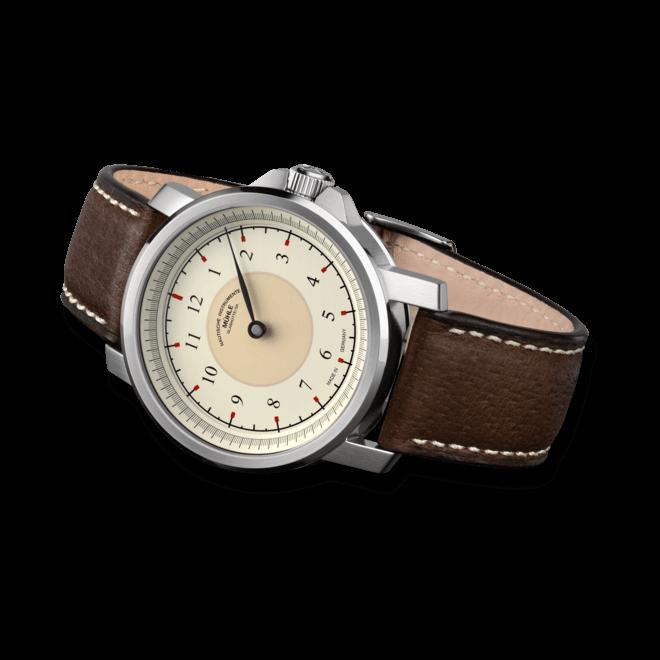 Herrenuhr Mühle Glashütte M 29 Classic Einzeiger mit cremefarbenem Zifferblatt und Kalbsleder-Armband