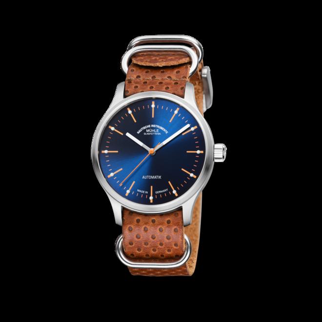 Armbanduhr Mühle Glashütte Panova Blau mit blauem Zifferblatt und Kalbsleder-Armband bei Brogle