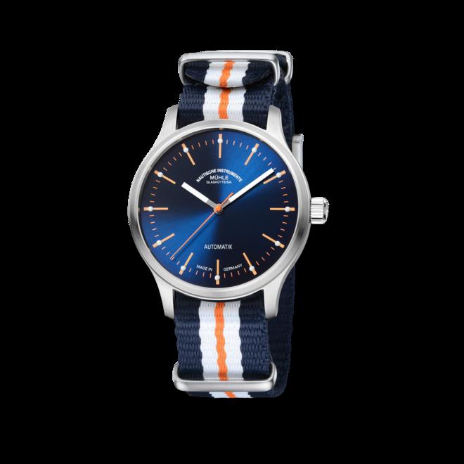 Armbanduhr Mühle Glashütte Panova Blau mit blauem Zifferblatt und Textilarmband bei Brogle