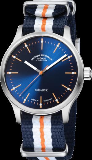 Armbanduhr Mühle Glashütte Panova Blau mit blauem Zifferblatt und Textilarmband