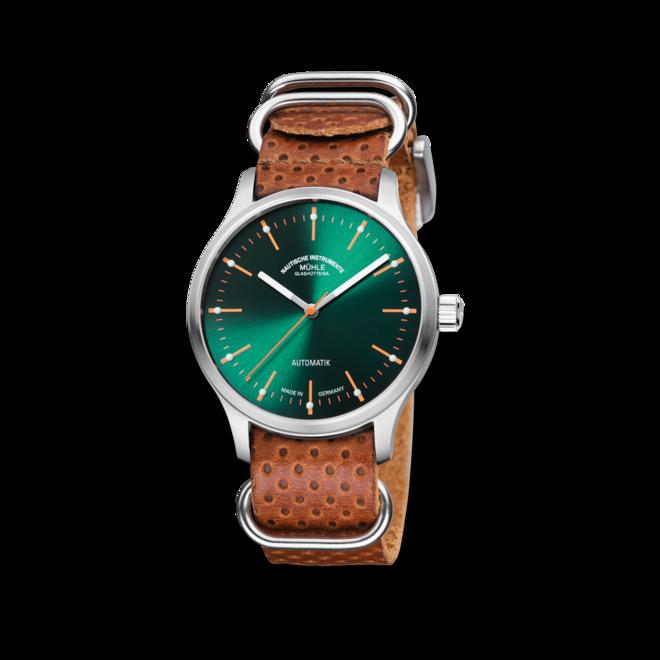 Armbanduhr Mühle Glashütte Panova Grün mit grünem Zifferblatt und Kalbsleder-Armband bei Brogle