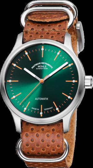 Armbanduhr Mühle Glashütte Panova Grün mit grünem Zifferblatt und Kalbsleder-Armband