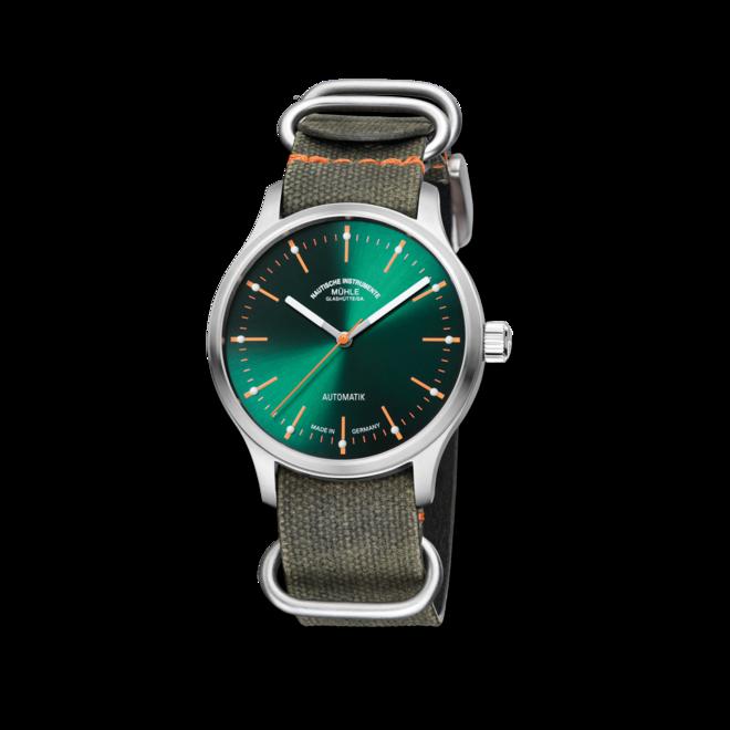 Armbanduhr Mühle Glashütte Panova Grün mit grünem Zifferblatt und Textilarmband bei Brogle