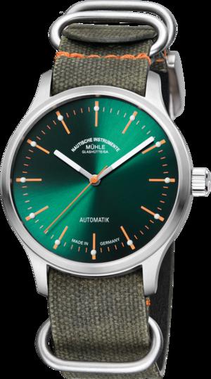 Armbanduhr Mühle Glashütte Panova Grün mit grünem Zifferblatt und Textilarmband