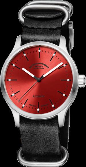 Armbanduhr Mühle Glashütte Panova Rot mit rotem Zifferblatt und Kalbsleder-Armband