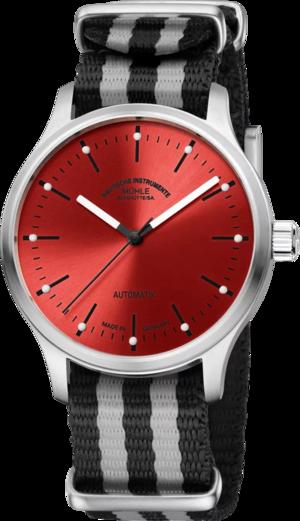 Armbanduhr Mühle Glashütte Panova Rot mit rotem Zifferblatt und Textilarmband