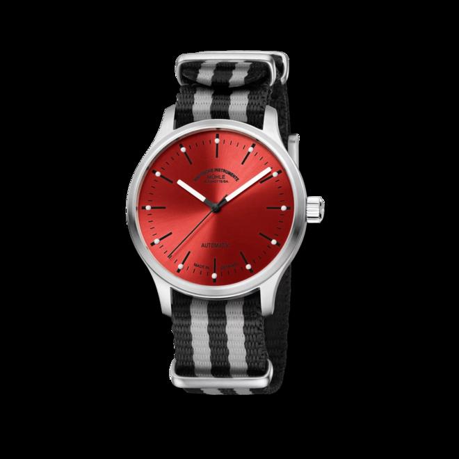 Armbanduhr Mühle Glashütte Panova Rot mit rotem Zifferblatt und Textilarmband bei Brogle