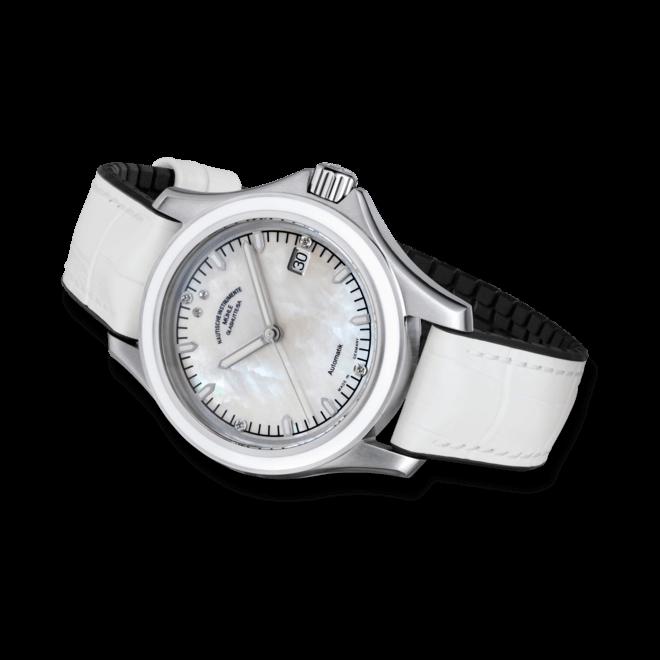 Damenuhr Mühle Glashütte ProMare Lady mit Diamanten, perlmuttfarbenem Zifferblatt und Kalbsleder-Armband