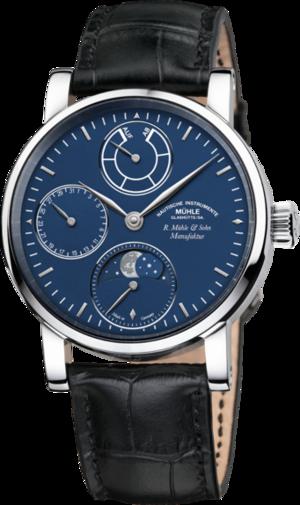 Herrenuhr Mühle Glashütte Robert Mühle Mondphase Platin mit blauem Zifferblatt und Krokodilleder-Armband