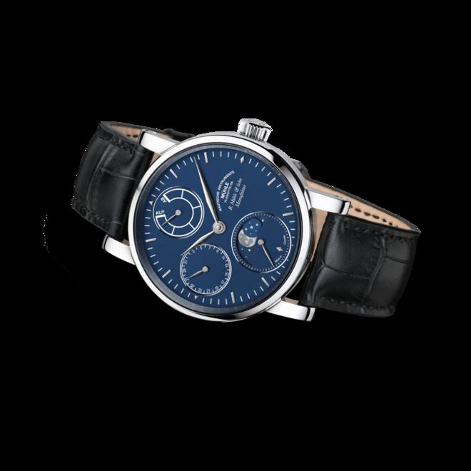 Herrenuhr Mühle Glashütte Robert Mühle Mondphase Platin mit blauem Zifferblatt und Krokodilleder-Armband bei Brogle
