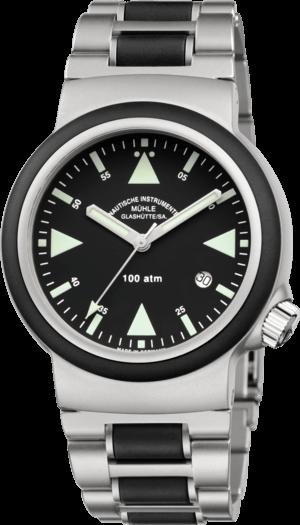 Herrenuhr Mühle Glashütte S.A.R. Rescue-Timer mit schwarzem Zifferblatt und Edelstahlarmband
