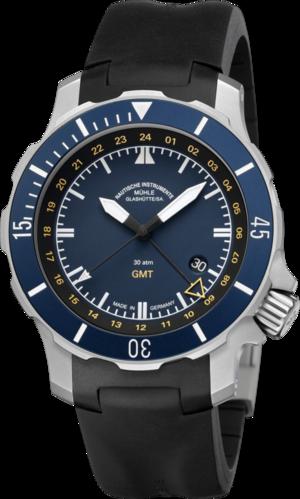 Herrenuhr Mühle Glashütte Seebataillon GMT mit blauem Zifferblatt und Kautschukarmband