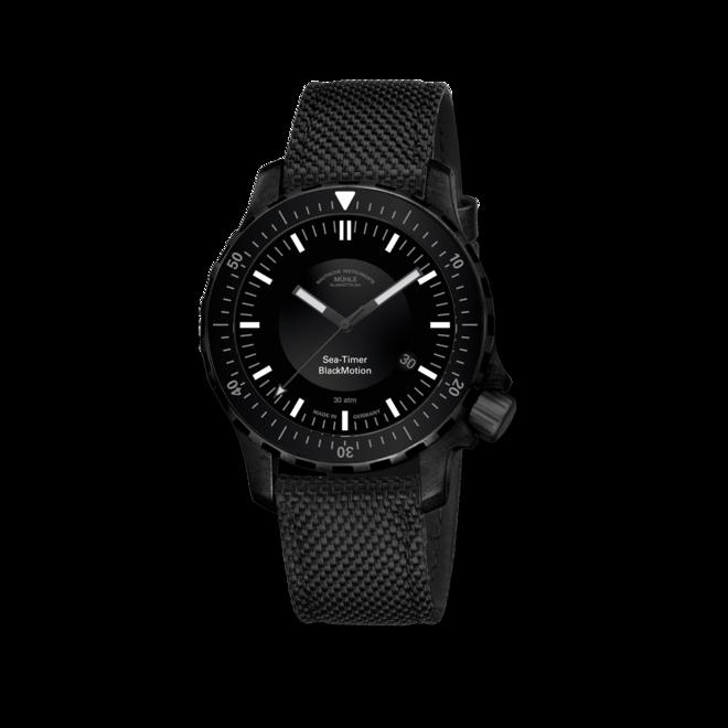 Herrenuhr Mühle Glashütte Sea-Timer BlackMotion mit schwarzem Zifferblatt und Textilarmband bei Brogle