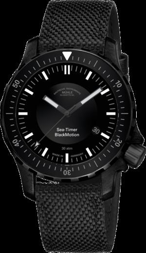 Herrenuhr Mühle Glashütte Sea-Timer BlackMotion mit schwarzem Zifferblatt und Textilarmband