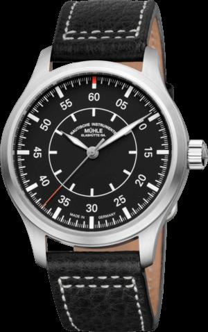 Herrenuhr Mühle Glashütte Terrasport I Beobachter mit schwarzem Zifferblatt und Büffelleder-Armband