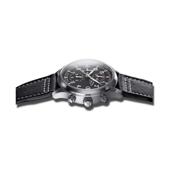 Herrenuhr Mühle Glashütte Terrasport I Chronograph mit schwarzem Zifferblatt und Büffelleder-Armband