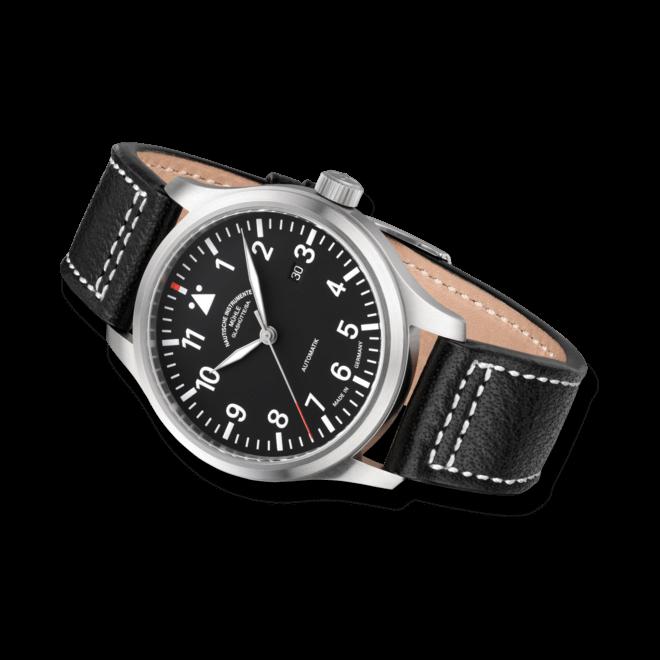 Herrenuhr Mühle Glashütte Terrasport I mit schwarzem Zifferblatt und Büffelleder-Armband