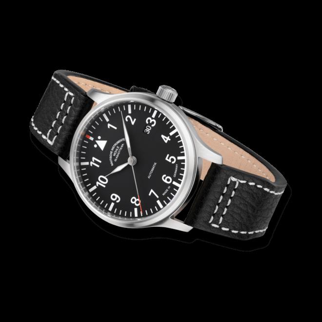 Herrenuhr Mühle Glashütte Terrasport II mit schwarzem Zifferblatt und Büffelleder-Armband
