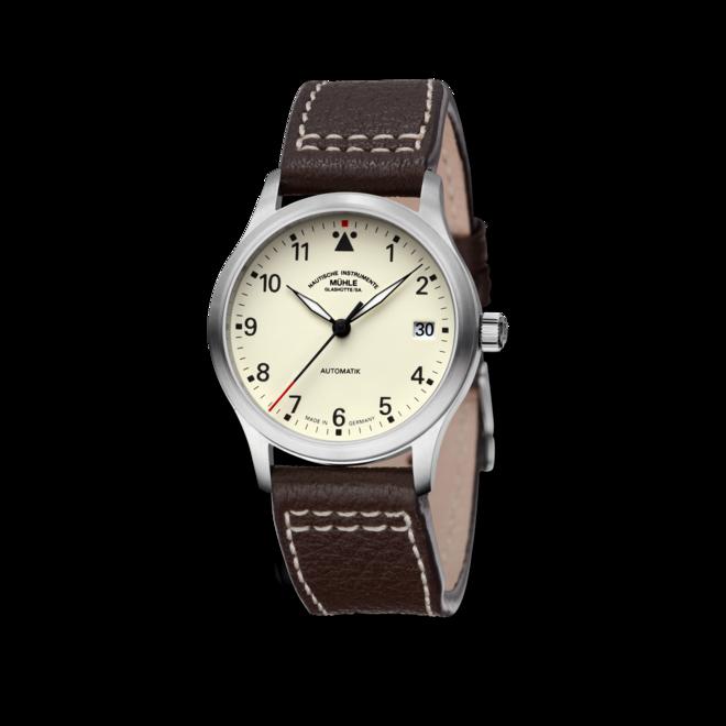 Armbanduhr Mühle Glashütte Terrasport III mit cremefarbenem Zifferblatt und Büffelleder-Armband bei Brogle