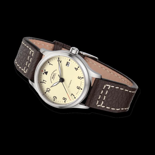 Armbanduhr Mühle Glashütte Terrasport III mit cremefarbenem Zifferblatt und Büffelleder-Armband