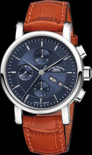 Herrenuhr Mühle Glashütte Teutonia II Chronograph mit blauem Zifferblatt und Krokodilleder-Armband