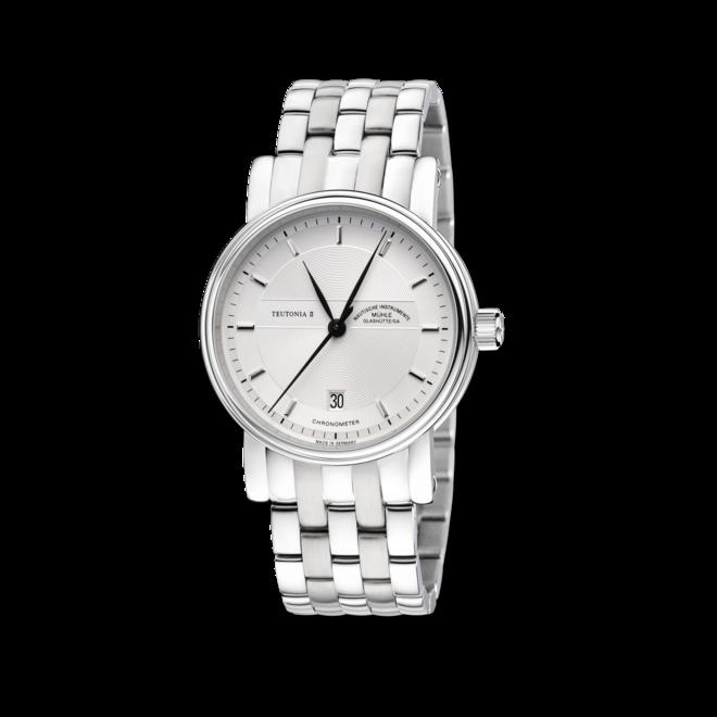 Armbanduhr Mühle Glashütte Teutonia II Chronometer mit weißem Zifferblatt und Edelstahlarmband bei Brogle