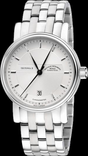 Armbanduhr Mühle Glashütte Teutonia II Chronometer mit weißem Zifferblatt und Edelstahlarmband