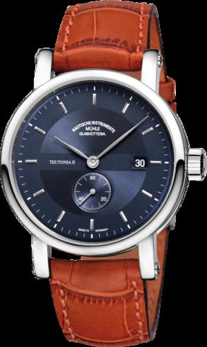 Herrenuhr Mühle Glashütte Teutonia II Kleine Sekunde mit blauem Zifferblatt und Krokodilleder-Armband