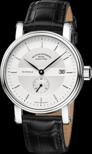 Herrenuhr Mühle Glashütte Teutonia II Kleine Sekunde mit silberfarbenem Zifferblatt und Krokodilleder-Armband