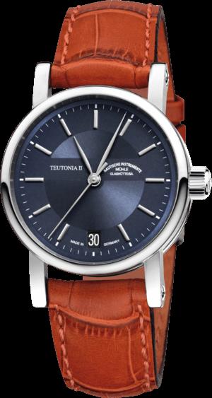 Armbanduhr Mühle Glashütte Teutonia II Medium mit blauem Zifferblatt und Krokodilleder-Armband