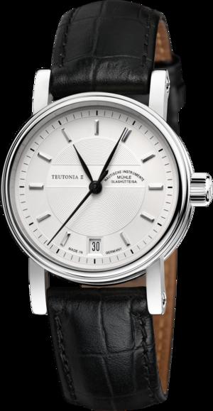 Armbanduhr Mühle Glashütte Teutonia II Medium mit silberfarbenem Zifferblatt und Krokodilleder-Armband