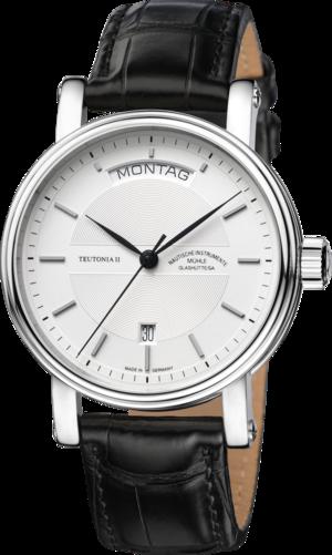 Herrenuhr Mühle Glashütte Teutonia II Tag/Datum mit silberfarbenem Zifferblatt und Krokodilleder-Armband
