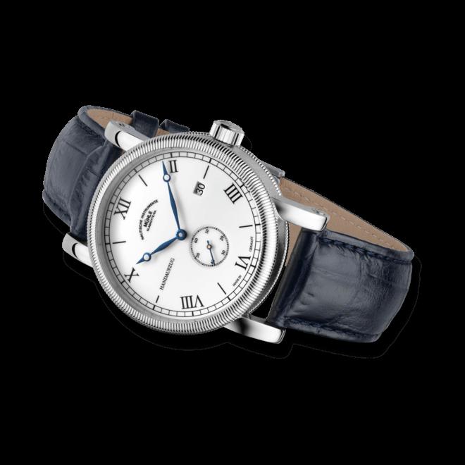 Herrenuhr Mühle Glashütte Teutonia III Handaufzug Kleine Sekunde mit weißem Zifferblatt und Armband aus Kalbsleder mit Krokodilprägung