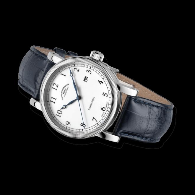 Herrenuhr Mühle Glashütte Teutonia III Handaufzug mit weißem Zifferblatt und Krokodilleder-Armband